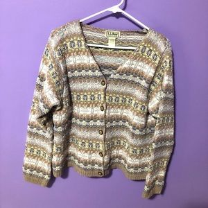 LL BEAN vintage 100% cotton sweater cardigan